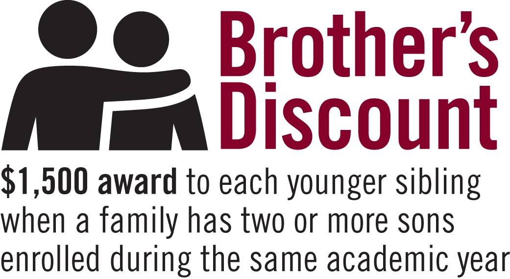 Brother's Discount: 2020-21 School Year: $1,500.00 award to each younger sibling when a family has two or more sons enrolled during the same academic year.
